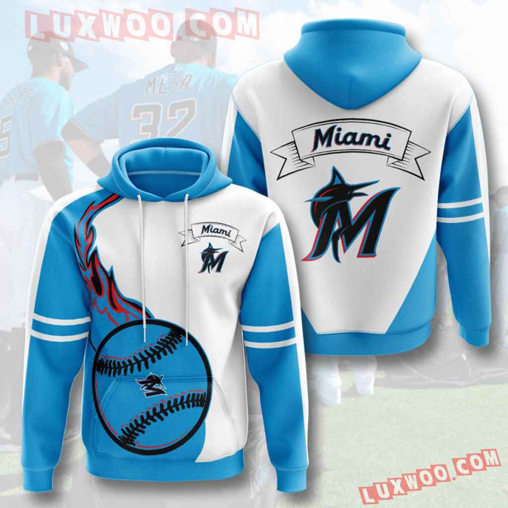 Mlb Miami Marlins 3d Hoodies Printed Zip Hoodies Sweatshirt Jacket V3