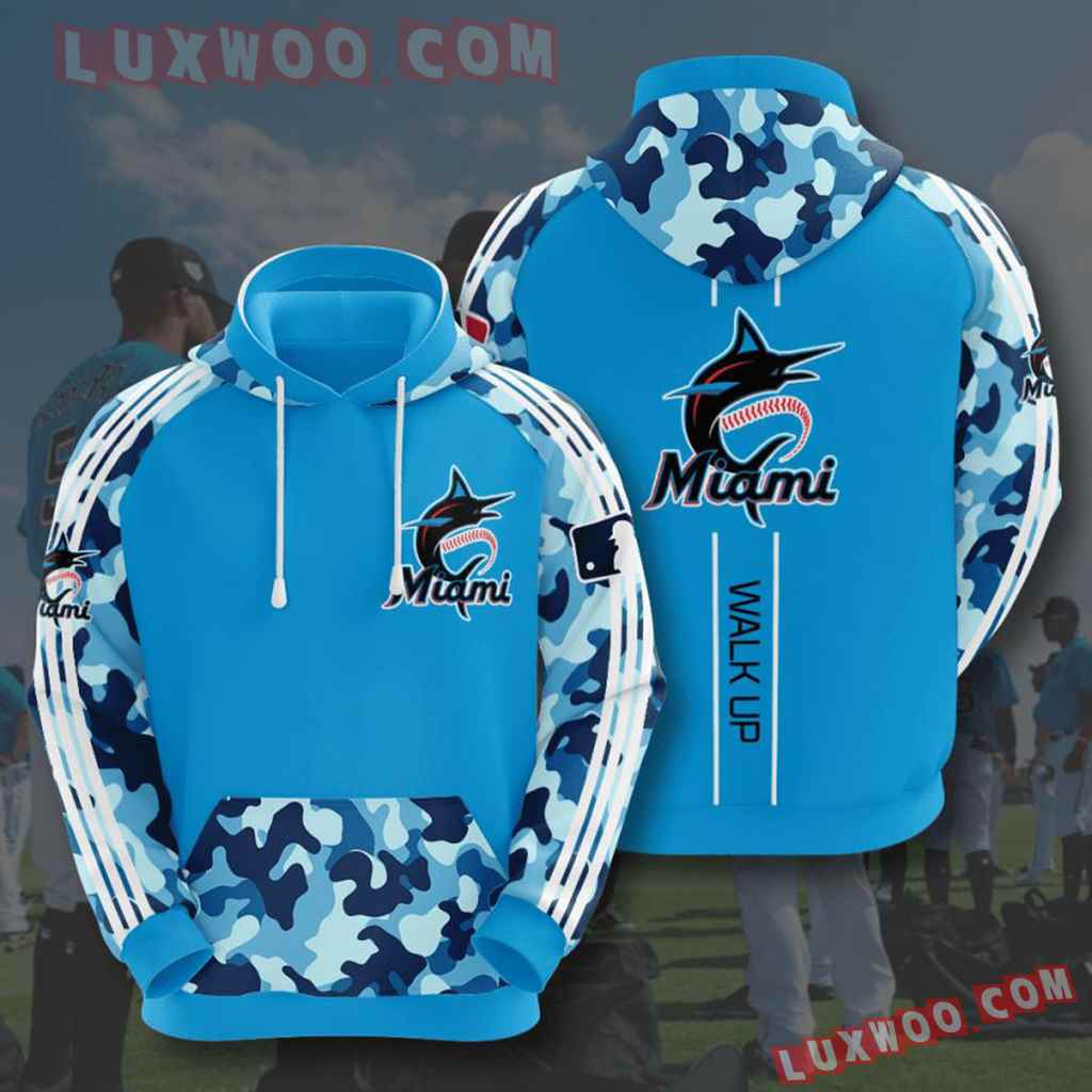 Mlb Miami Marlins 3d Hoodies Printed Zip Hoodies Sweatshirt Jacket V4