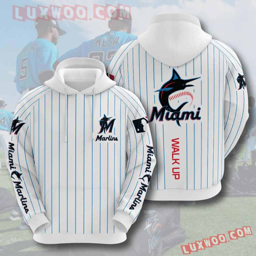 Mlb Miami Marlins 3d Hoodies Printed Zip Hoodies Sweatshirt Jacket V5