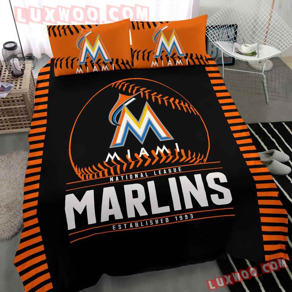 Mlb Miami Marlins 3d Quilt Bedding Set V1