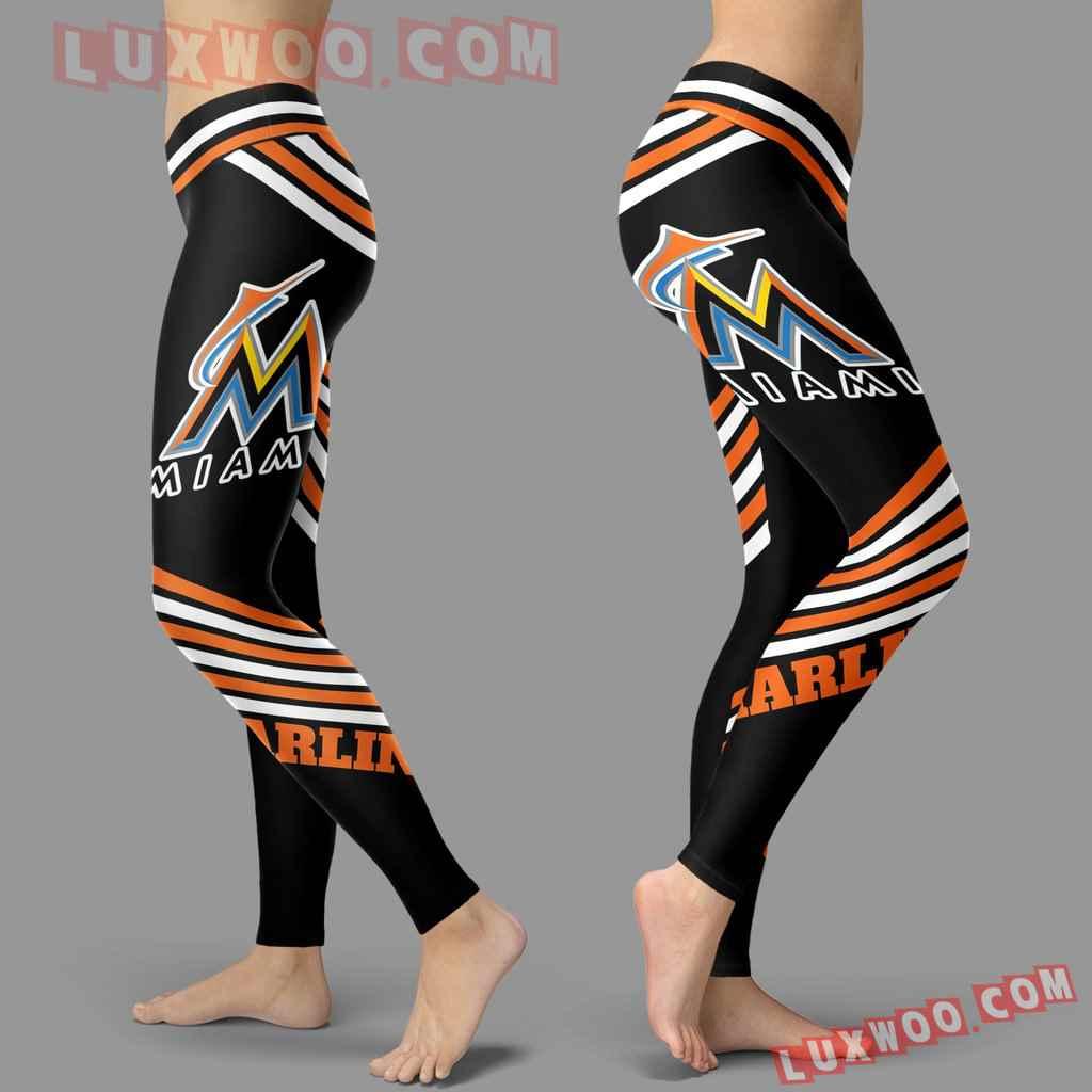 Mlb Miami Marlins Leggings 3d Custom Print Leggings Sport V2