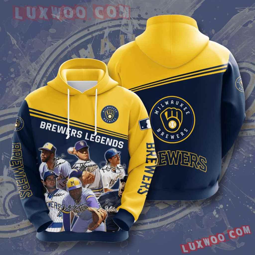 Mlb Milwaukee Brewers 3d Hoodies Printed Zip Hoodies Sweatshirt Jacket V1