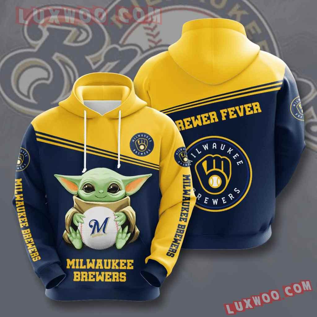 Mlb Milwaukee Brewers 3d Hoodies Printed Zip Hoodies Sweatshirt Jacket V10