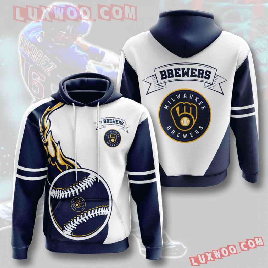 Mlb Milwaukee Brewers 3d Hoodies Printed Zip Hoodies Sweatshirt Jacket V3