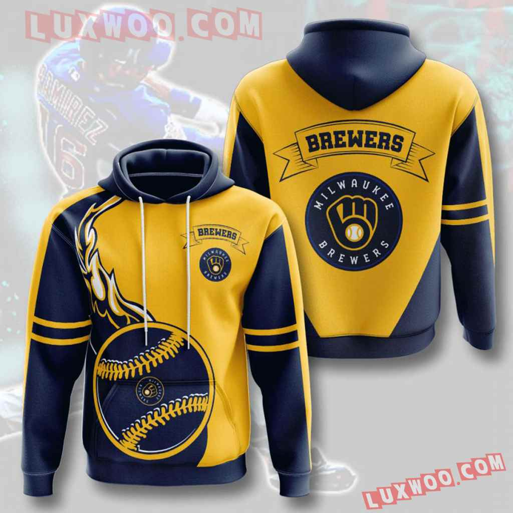 Mlb Milwaukee Brewers 3d Hoodies Printed Zip Hoodies Sweatshirt Jacket V4