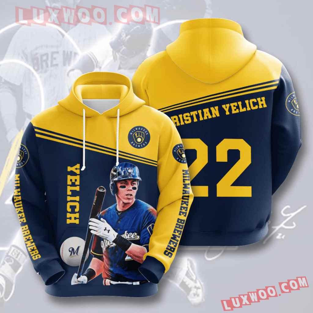 Mlb Milwaukee Brewers 3d Hoodies Printed Zip Hoodies Sweatshirt Jacket V5