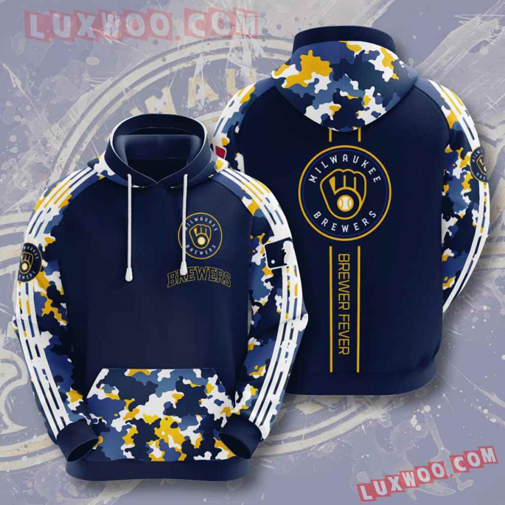 Mlb Milwaukee Brewers 3d Hoodies Printed Zip Hoodies Sweatshirt Jacket V7