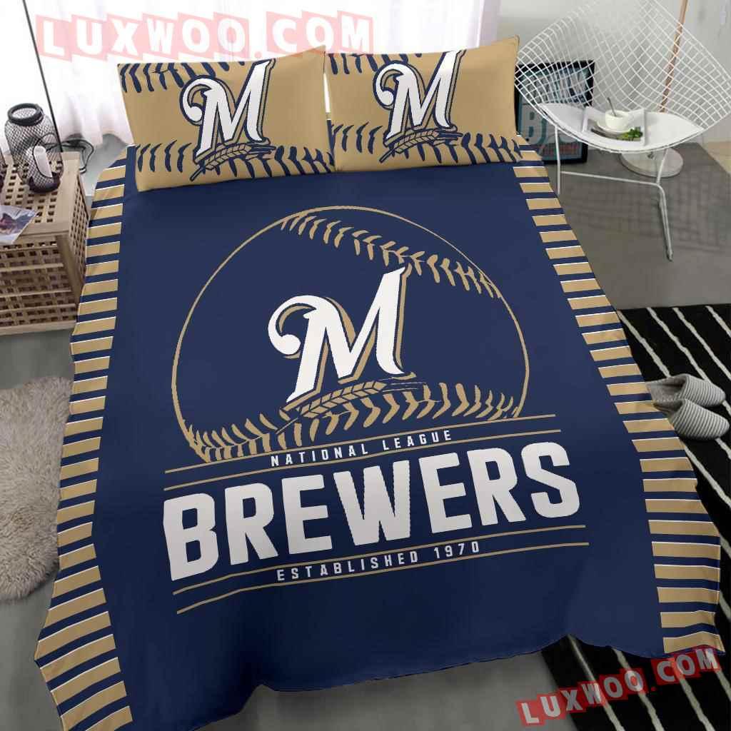 Mlb Milwaukee Brewers 3d Quilt Bedding Set V2