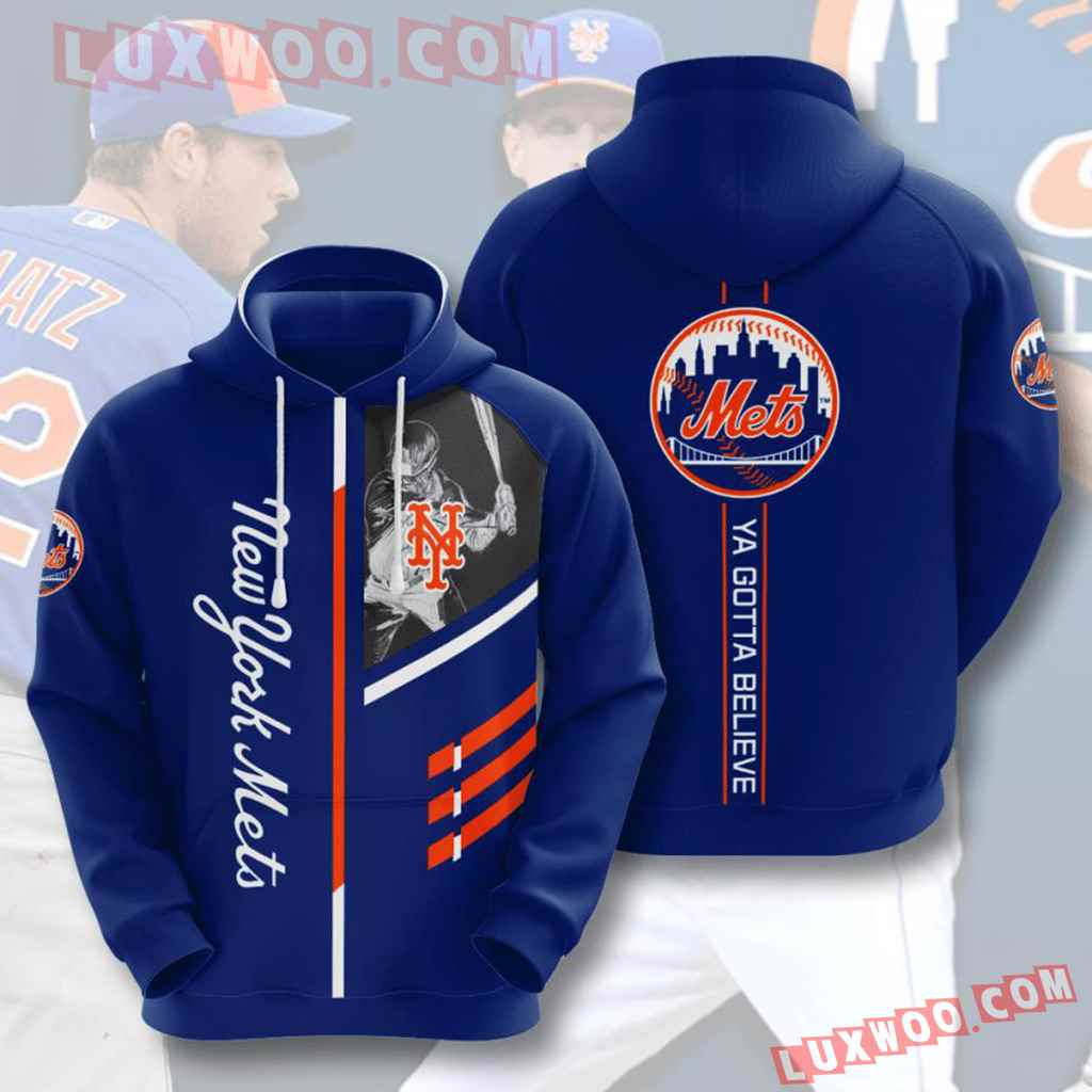 Mlb New York Mets 3d Hoodies Printed Zip Hoodies Sweatshirt Jacket V1