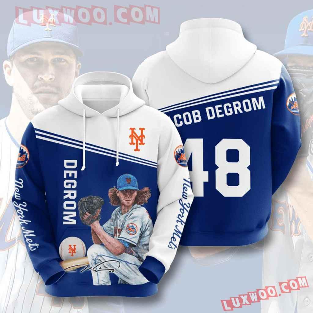 Mlb New York Mets 3d Hoodies Printed Zip Hoodies Sweatshirt Jacket V10