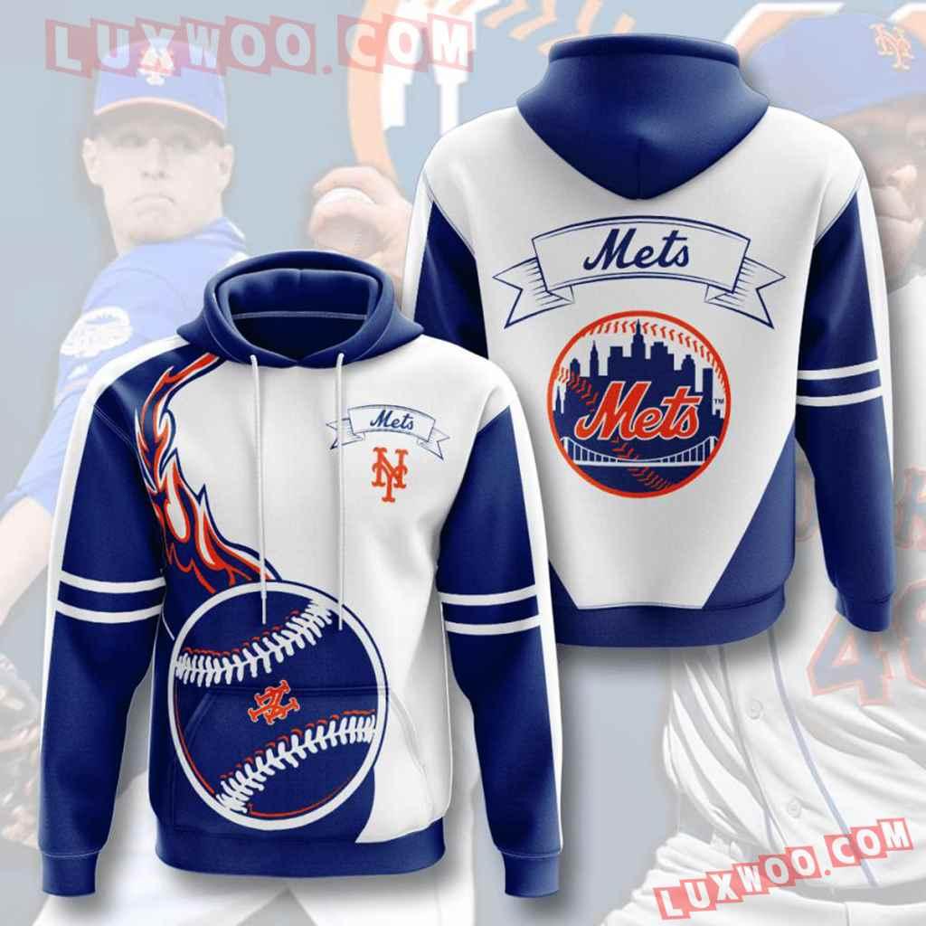 Mlb New York Mets 3d Hoodies Printed Zip Hoodies Sweatshirt Jacket V4