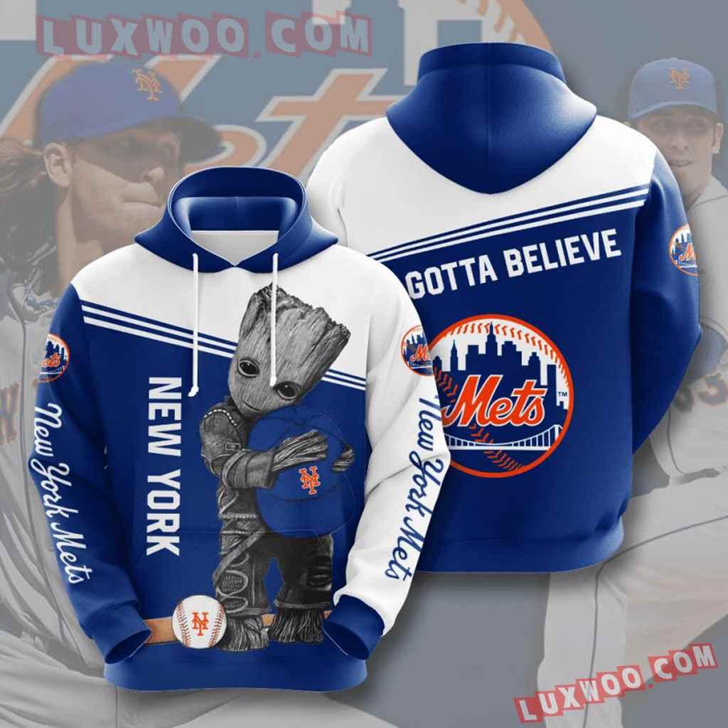 Mlb New York Mets 3d Hoodies Printed Zip Hoodies Sweatshirt Jacket V5