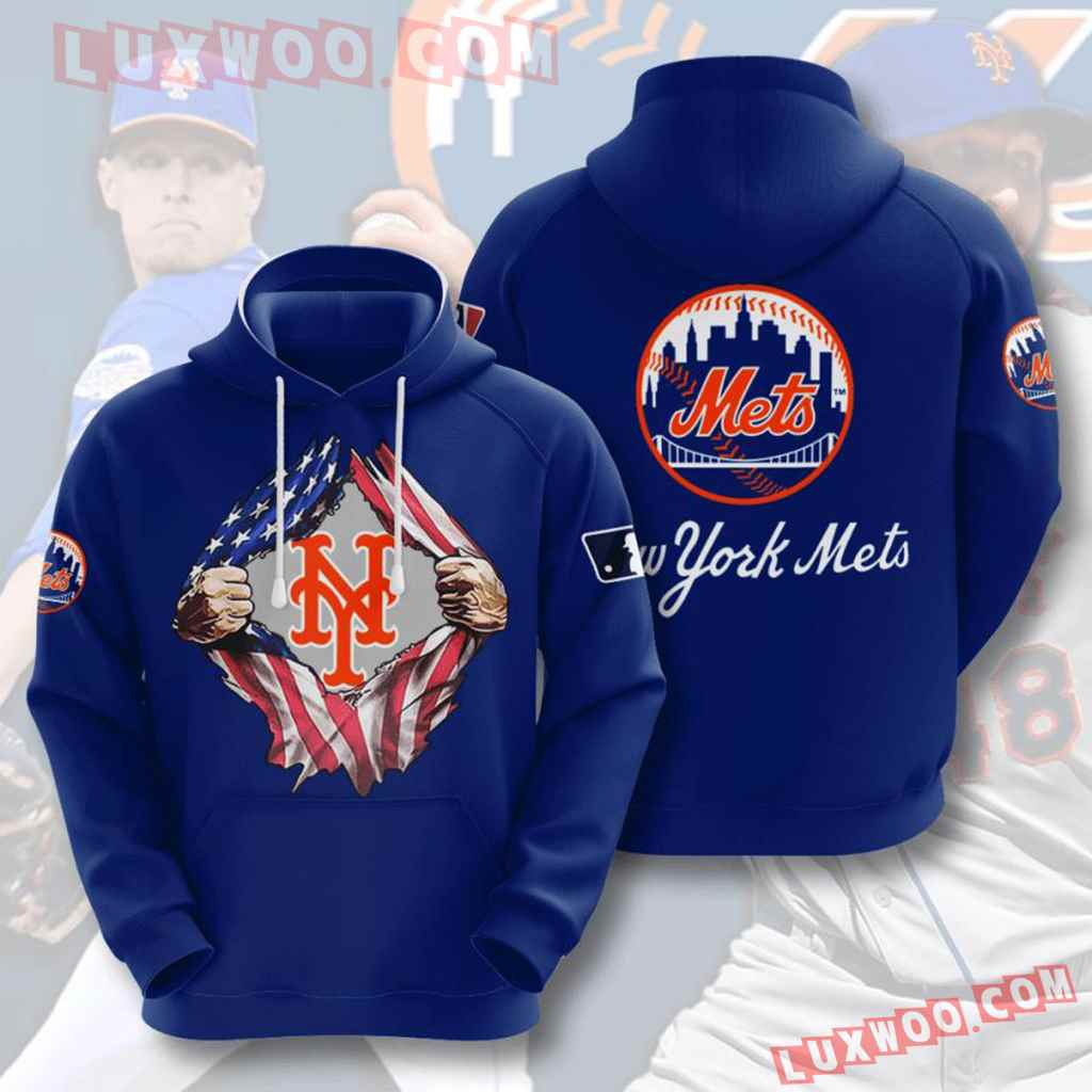 Mlb New York Mets 3d Hoodies Printed Zip Hoodies Sweatshirt Jacket V7