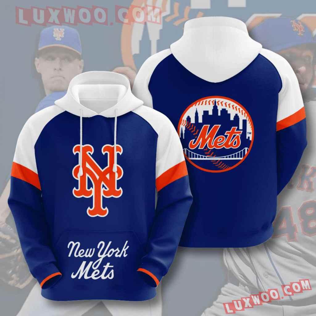 Mlb New York Mets 3d Hoodies Printed Zip Hoodies Sweatshirt Jacket V8