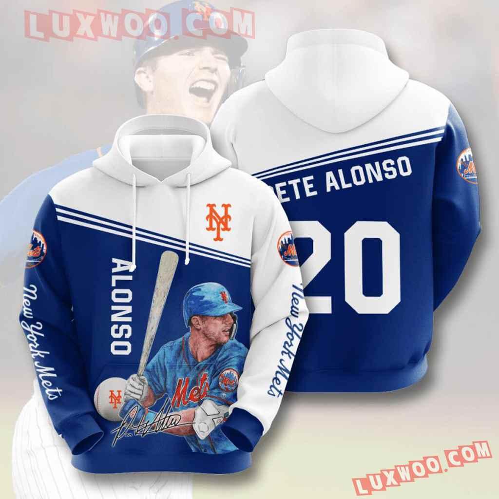 Mlb New York Mets 3d Hoodies Printed Zip Hoodies Sweatshirt Jacket V9