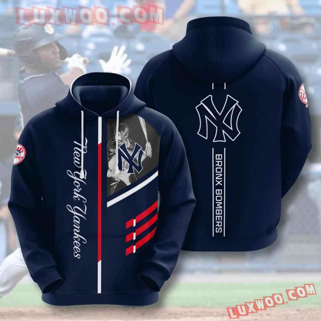 Mlb New York Yankees 3d Hoodies Printed Zip Hoodies Sweatshirt Jacket V1