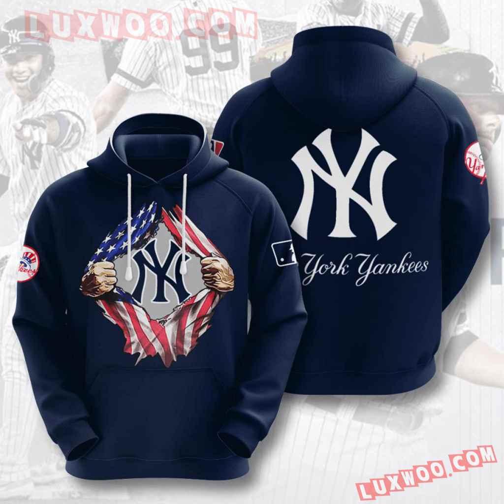 Mlb New York Yankees 3d Hoodies Printed Zip Hoodies Sweatshirt Jacket V23
