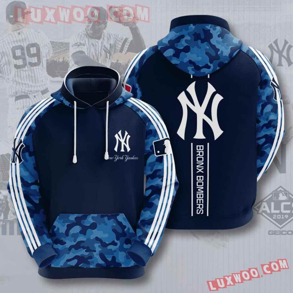 Mlb New York Yankees 3d Hoodies Printed Zip Hoodies Sweatshirt Jacket V24