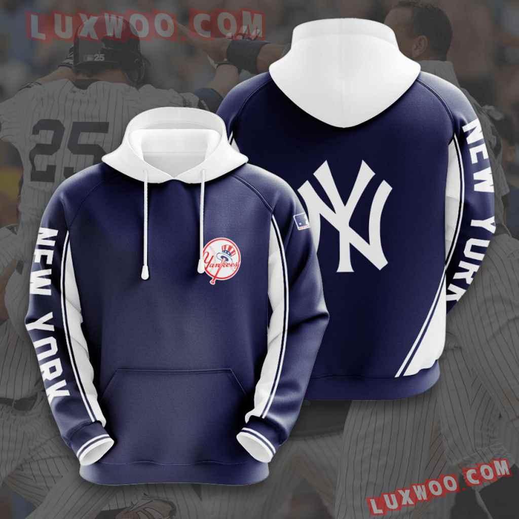 Mlb New York Yankees 3d Hoodies Printed Zip Hoodies Sweatshirt Jacket V5