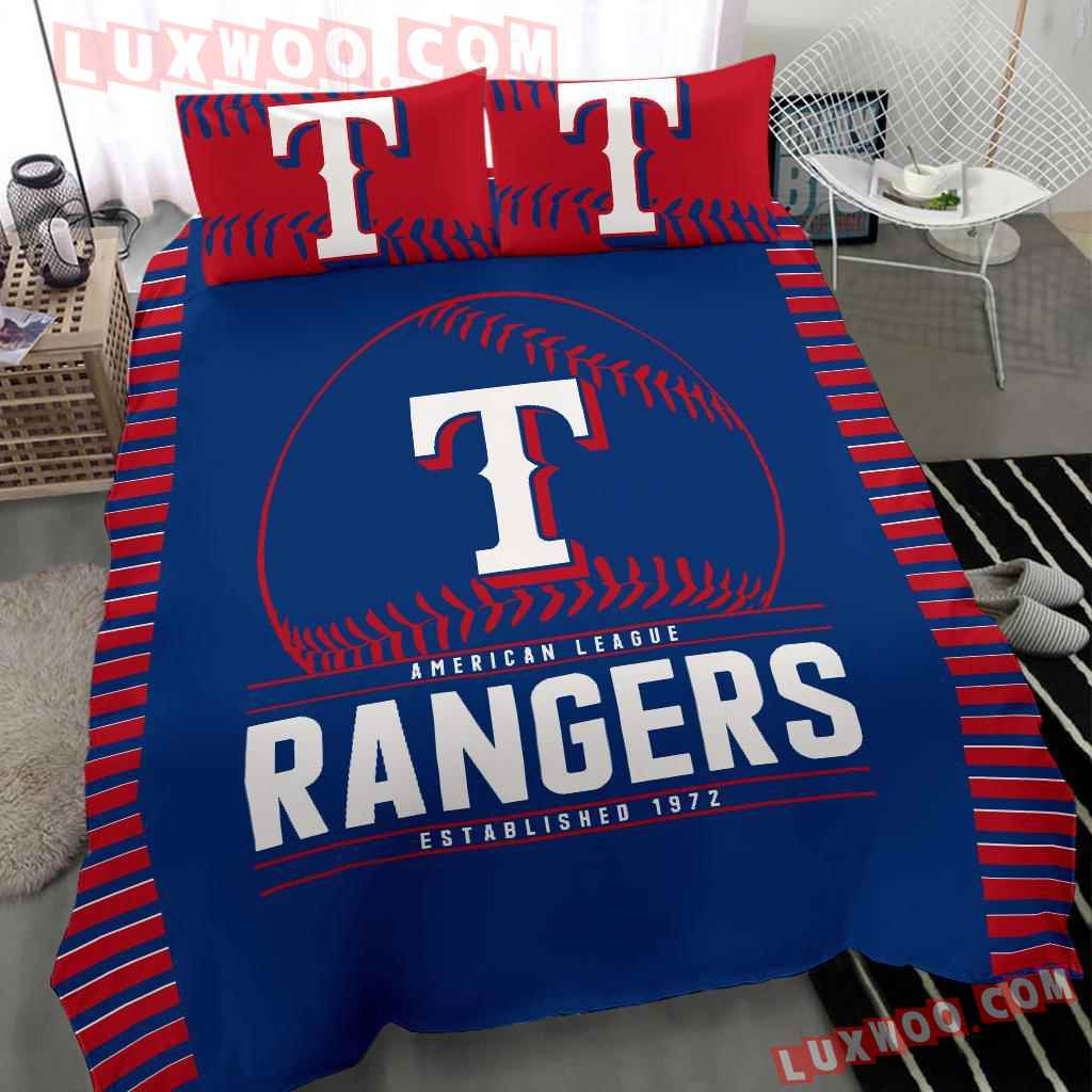 Mlb Texas Rangers 3d Quilt Bedding Set V1