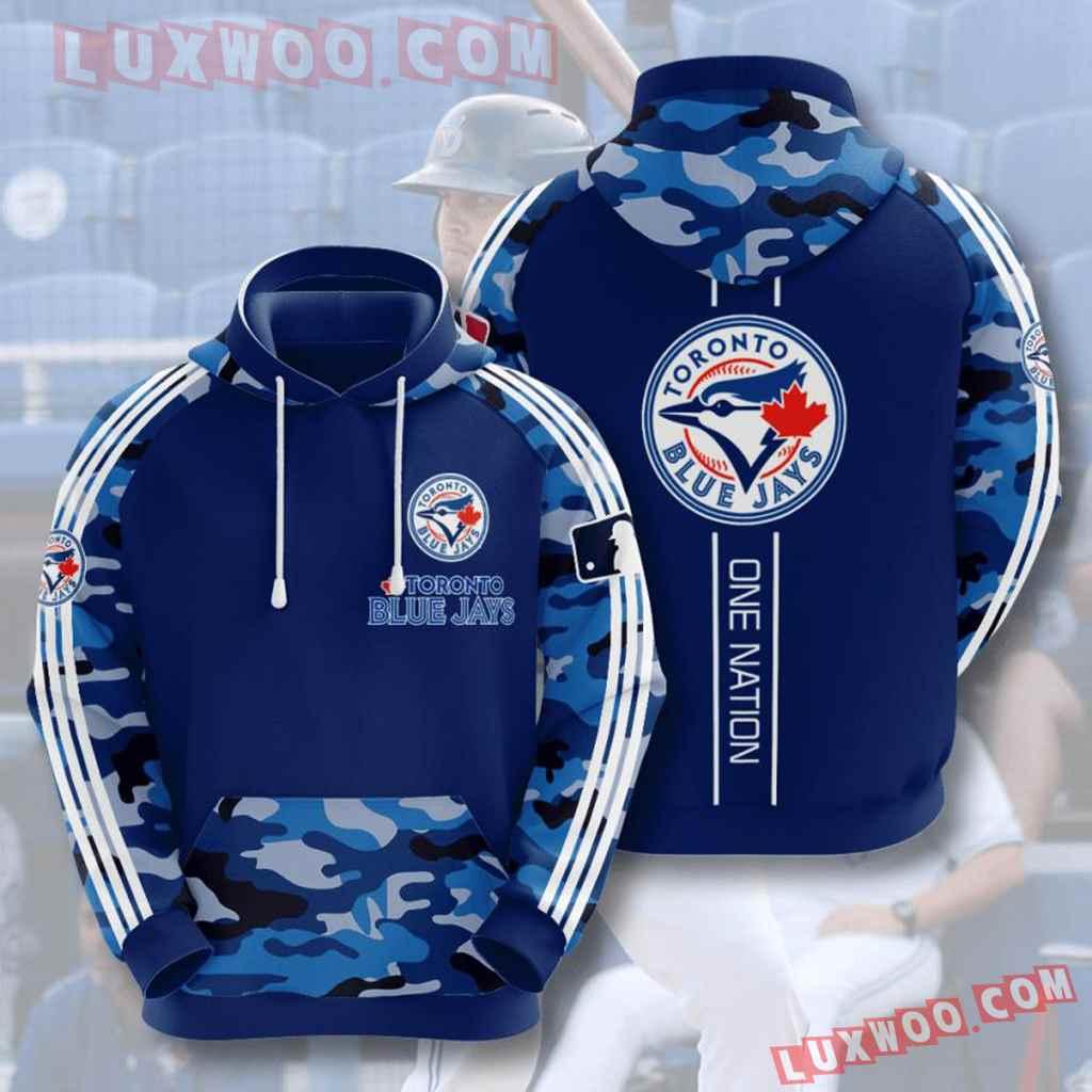 Mlb Toronto Blue Jays 3d Hoodies Printed Zip Hoodies Sweatshirt Jacket V4