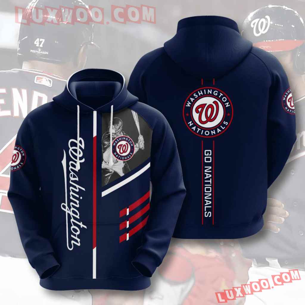 Mlb Washington Nationals 3d Hoodies Printed Zip Hoodies Sweatshirt Jacket V3