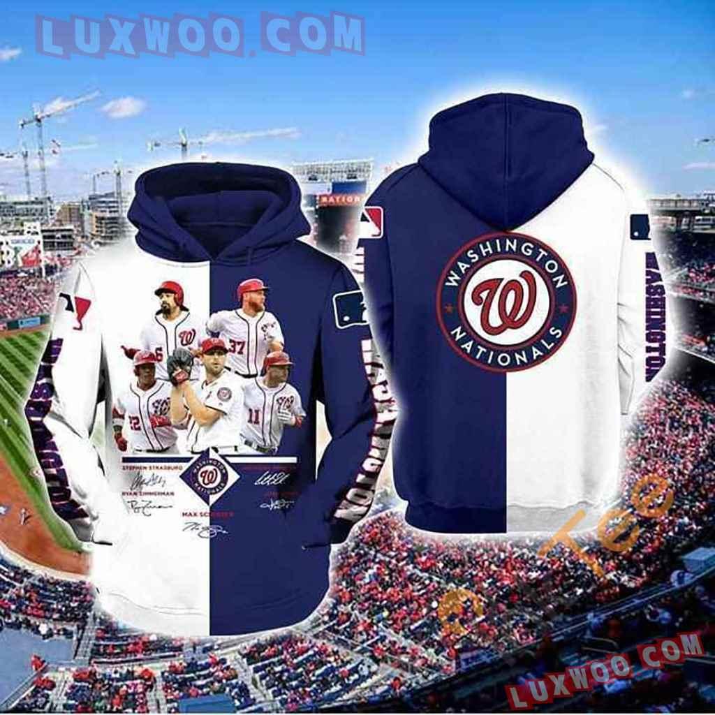 Mlb Washington Nationals 3d Hoodies Printed Zip Hoodies Sweatshirt Jacket V4