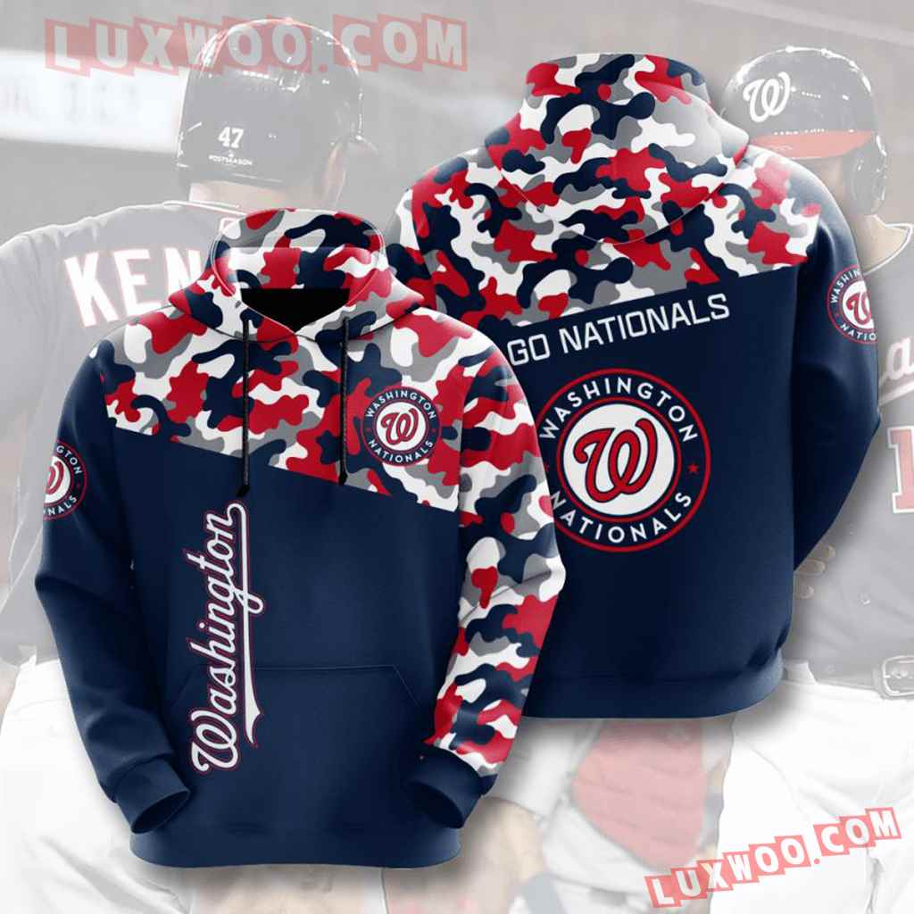 Mlb Washington Nationals 3d Hoodies Printed Zip Hoodies Sweatshirt Jacket V5