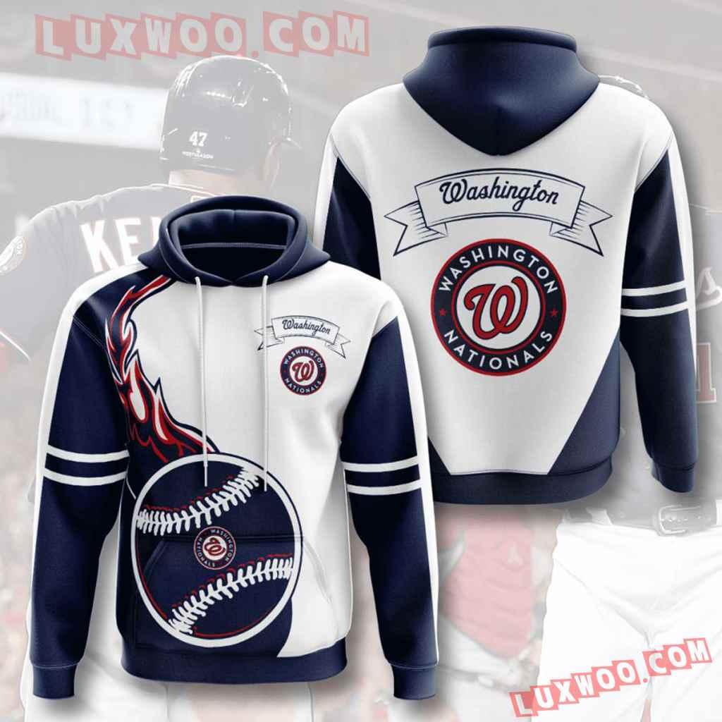 Mlb Washington Nationals 3d Hoodies Printed Zip Hoodies Sweatshirt Jacket V6