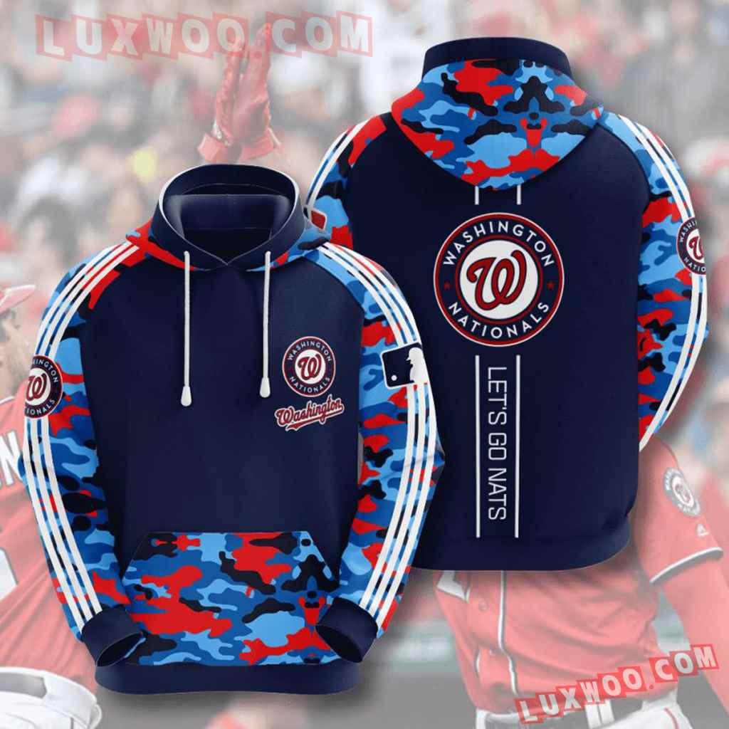 Mlb Washington Nationals 3d Hoodies Printed Zip Hoodies Sweatshirt Jacket V7