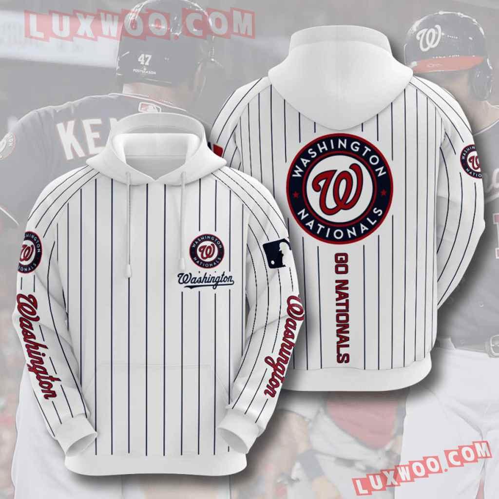 Mlb Washington Nationals 3d Hoodies Printed Zip Hoodies Sweatshirt Jacket V8