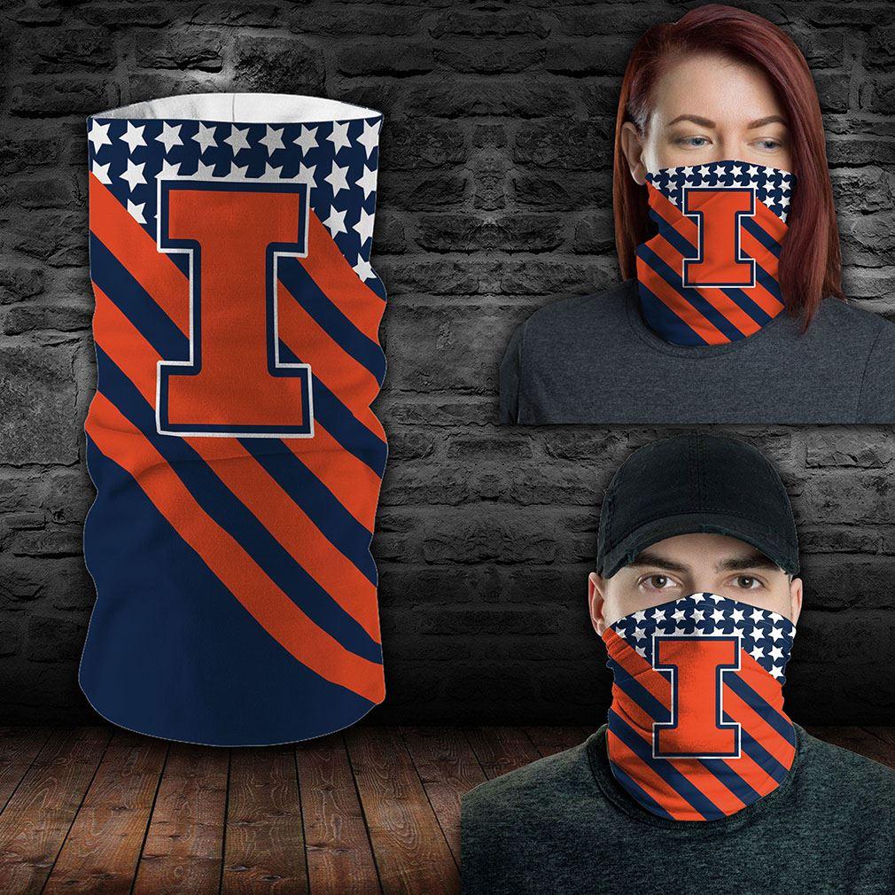Illinois Fighting Illini Ncaa Sport Neck Gaiter Flag America Bandana