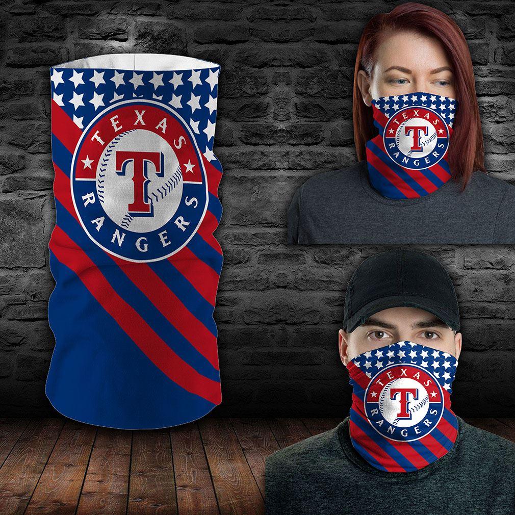 Texas Rangers Mlb Sport Neck Gaiter Flag America Bandana