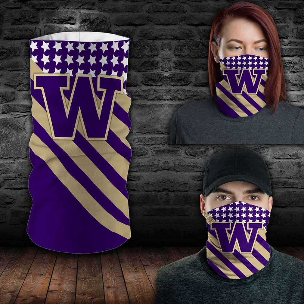 Washington Huskies Ncaa Sport Neck Gaiter Flag America Bandana