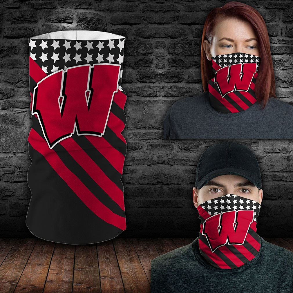 Wisconsin Badgers Ncaa Sport Neck Gaiter Flag America Bandana