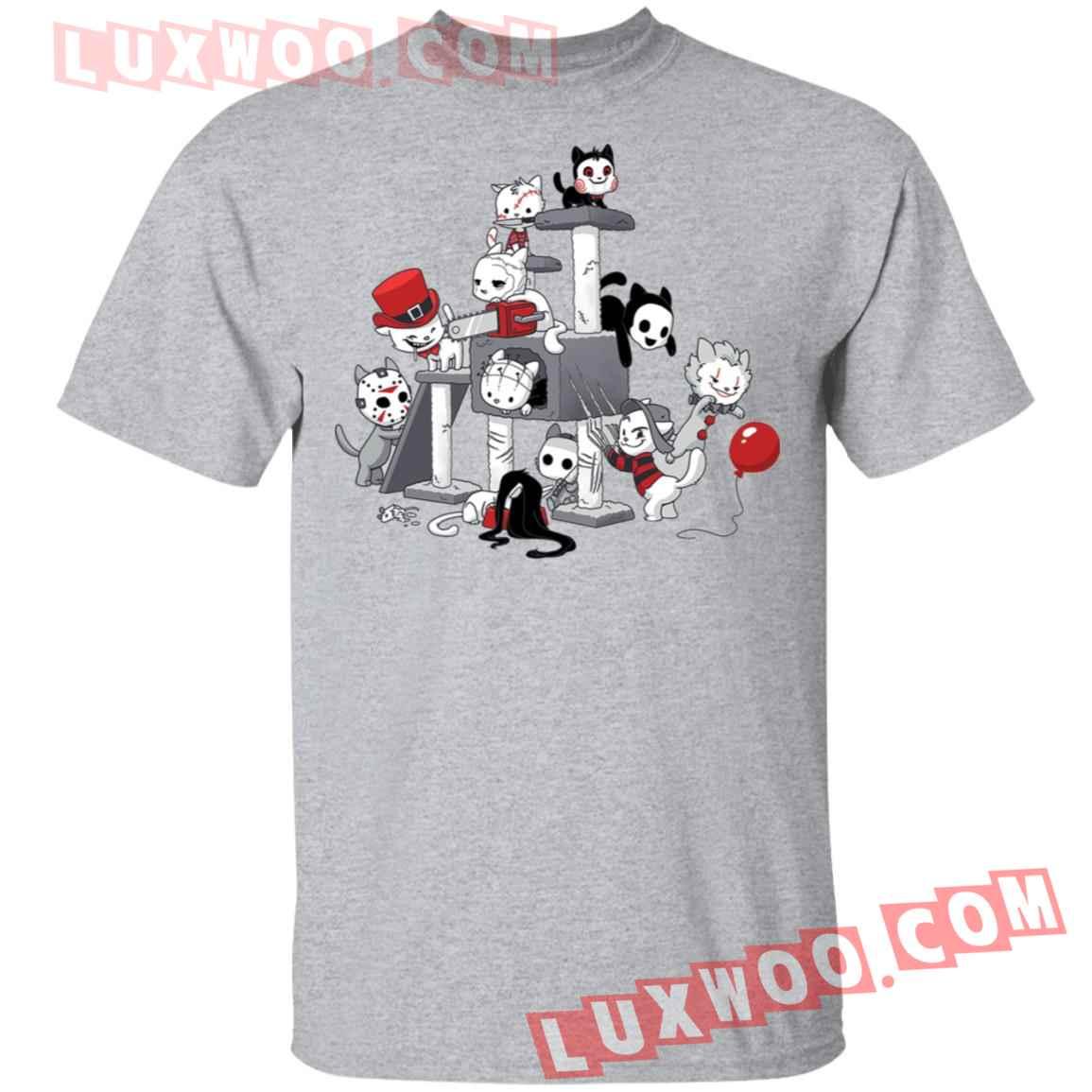 Halloween Horror Characters Cats Park Shirt