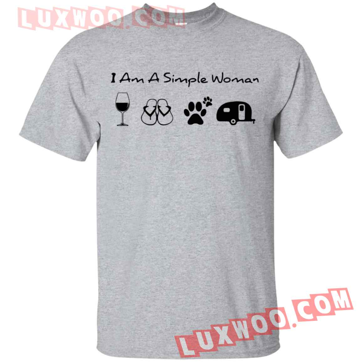 Im A Simple Woman I Like Wine Flip Flop Dogs And Camping Shirt