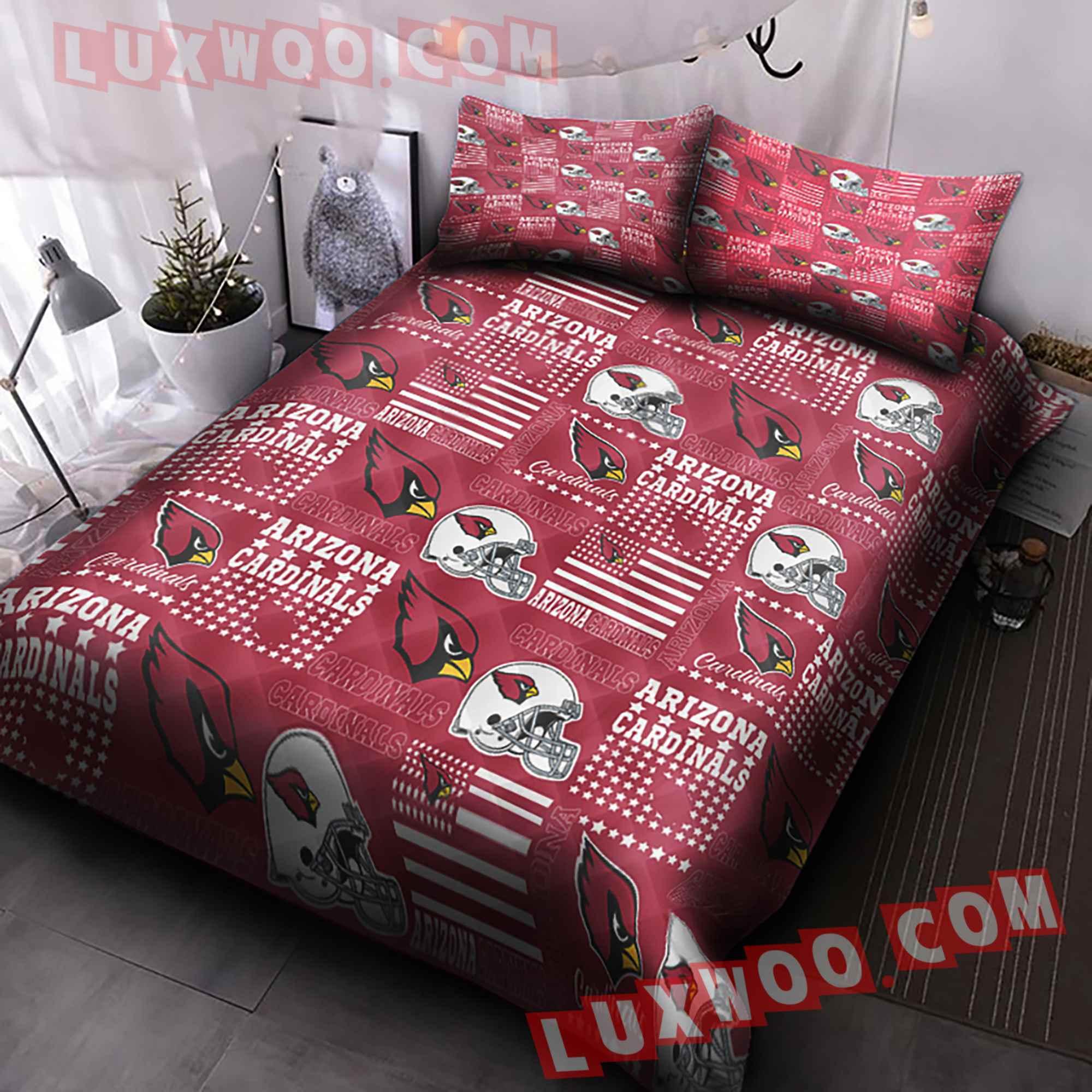 Arizona Cardinals American Flag Us Football Nfl 3d Quilt Bedding Set V1