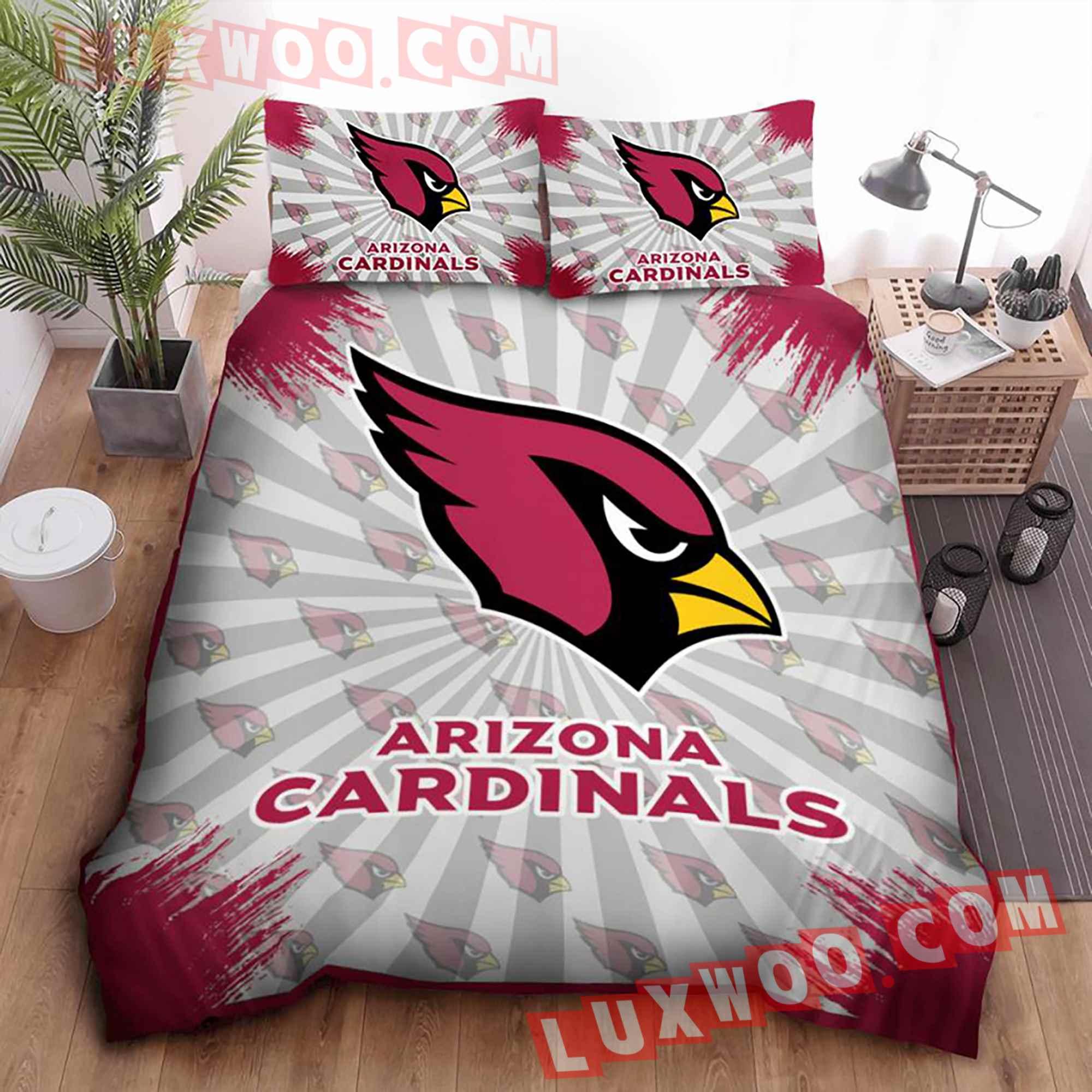 Arizona Cardinals American Flag Us Football Nfl 3d Quilt Bedding Set V2