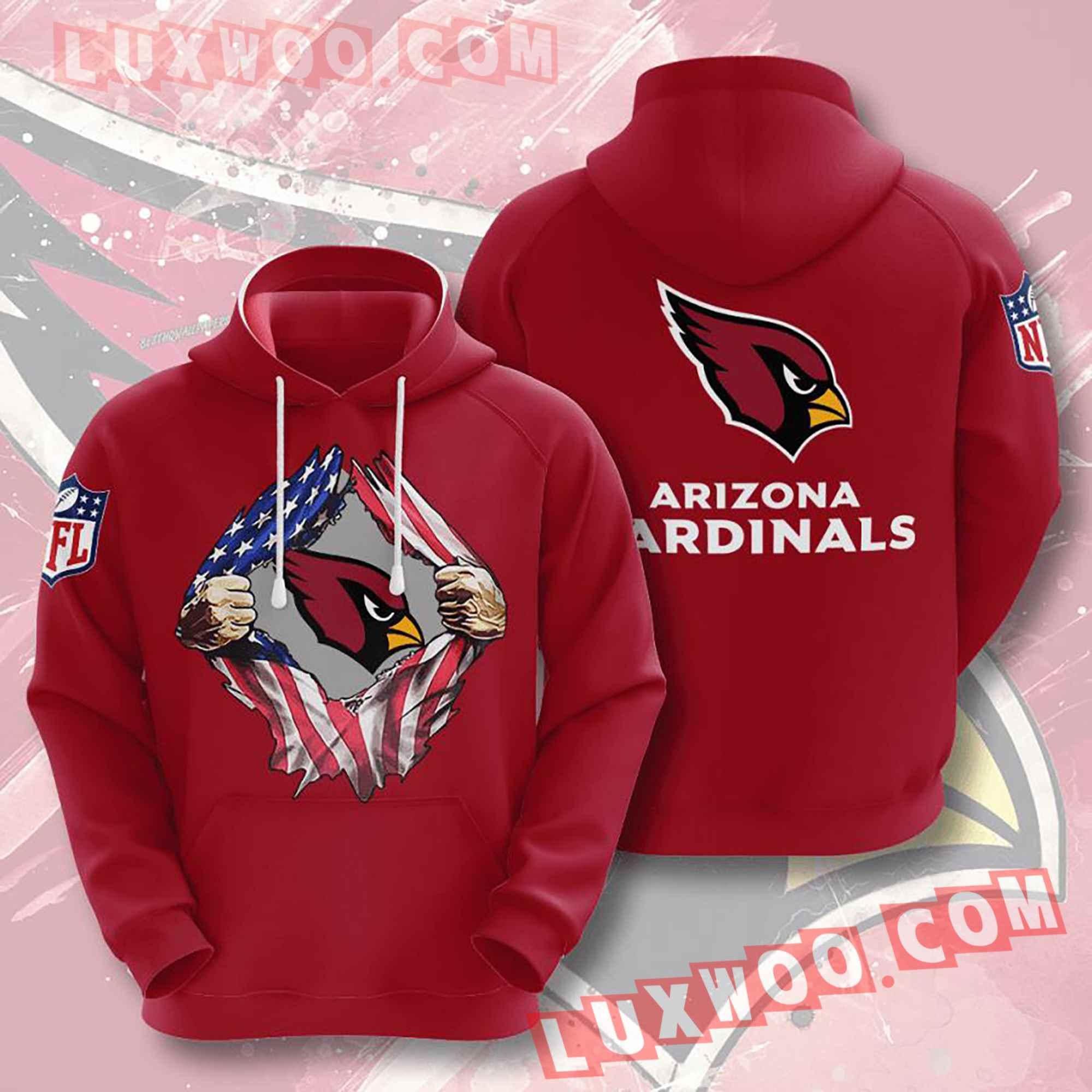 Nfl Arizona Cardinals Hoodies Custom All Over Print 3d Pullover Hoodie V8