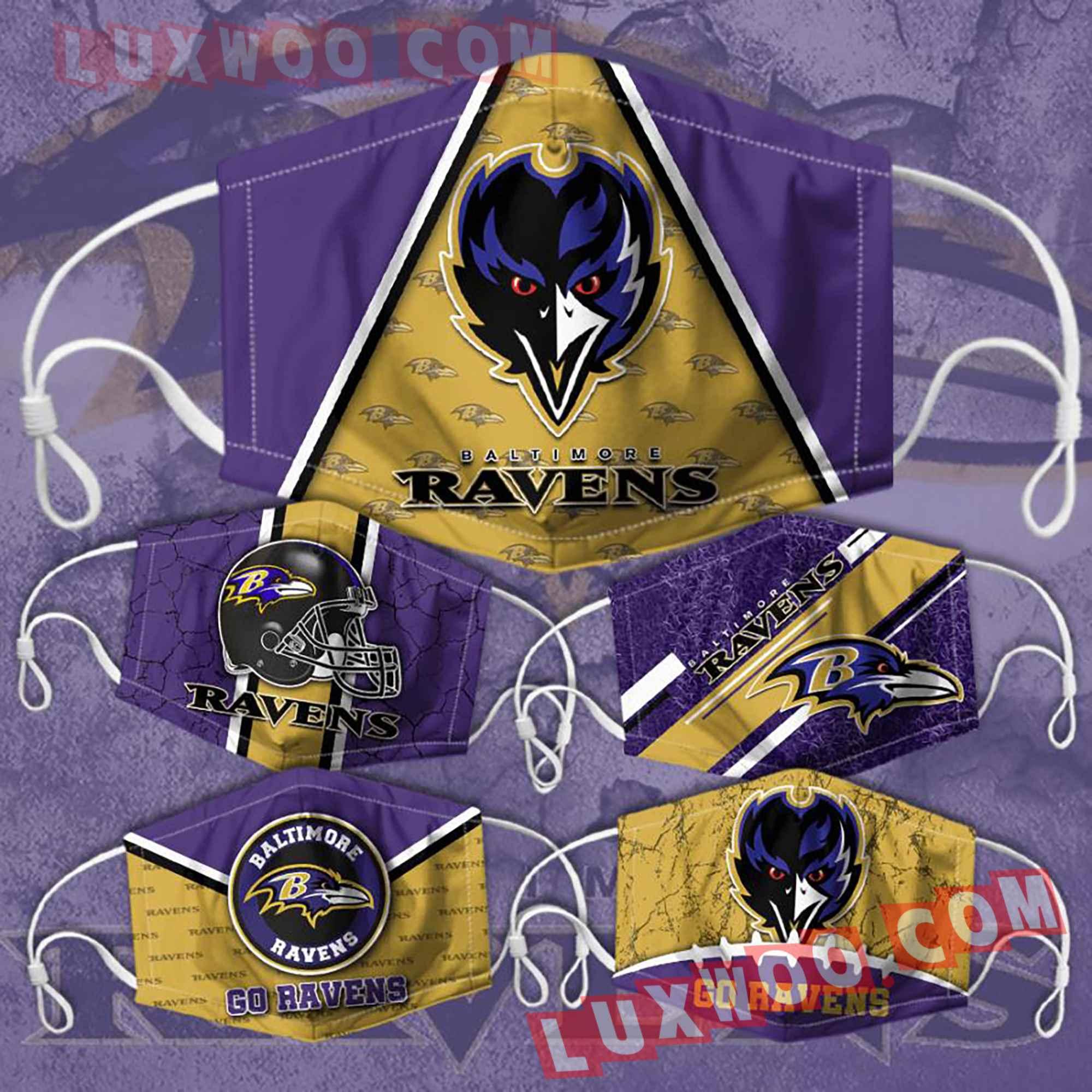 Baltimore Ravens 3d Face Mask Combo 5 V4