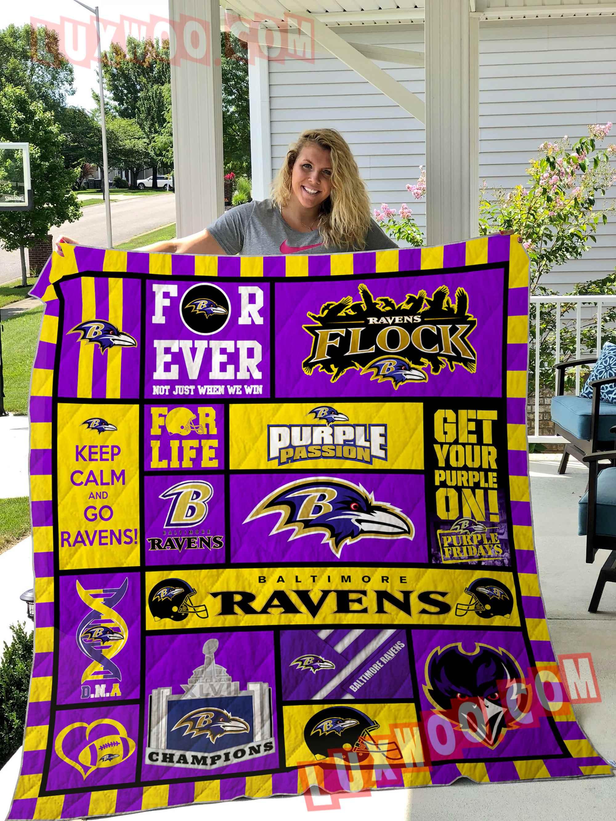 Baltimore Ravens American Flag Us Football Nfl 3d Quilt Blanket V1