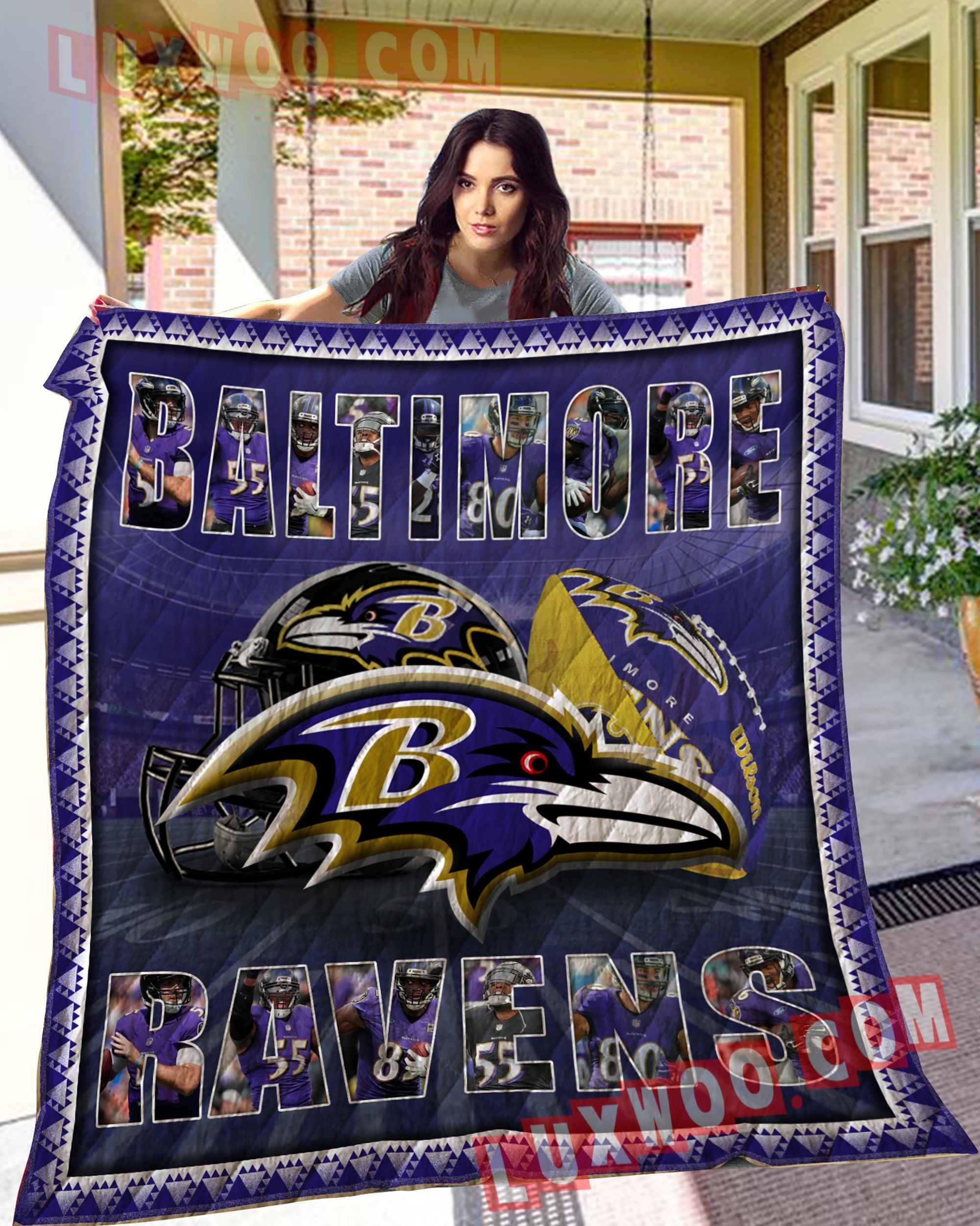Baltimore Ravens American Flag Us Football Nfl 3d Quilt Blanket V2