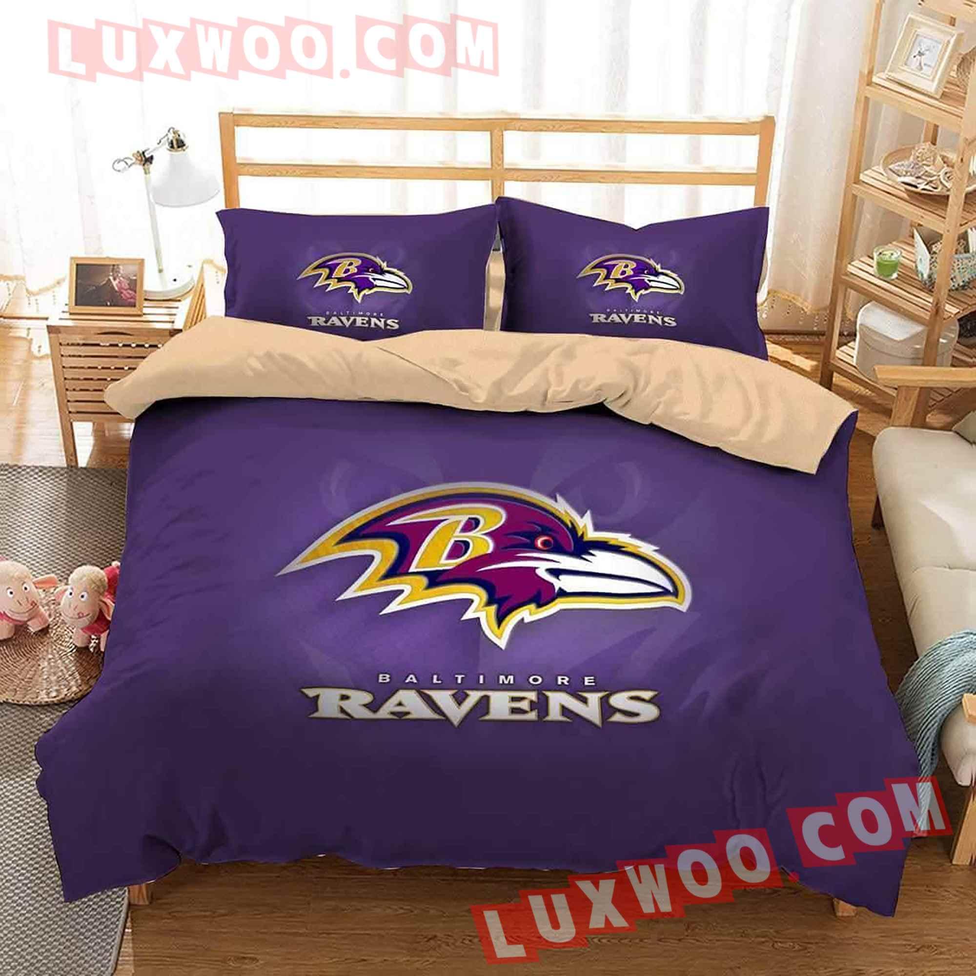 Baltimore Ravens Nfl 3d Quilt Bedding Set V1