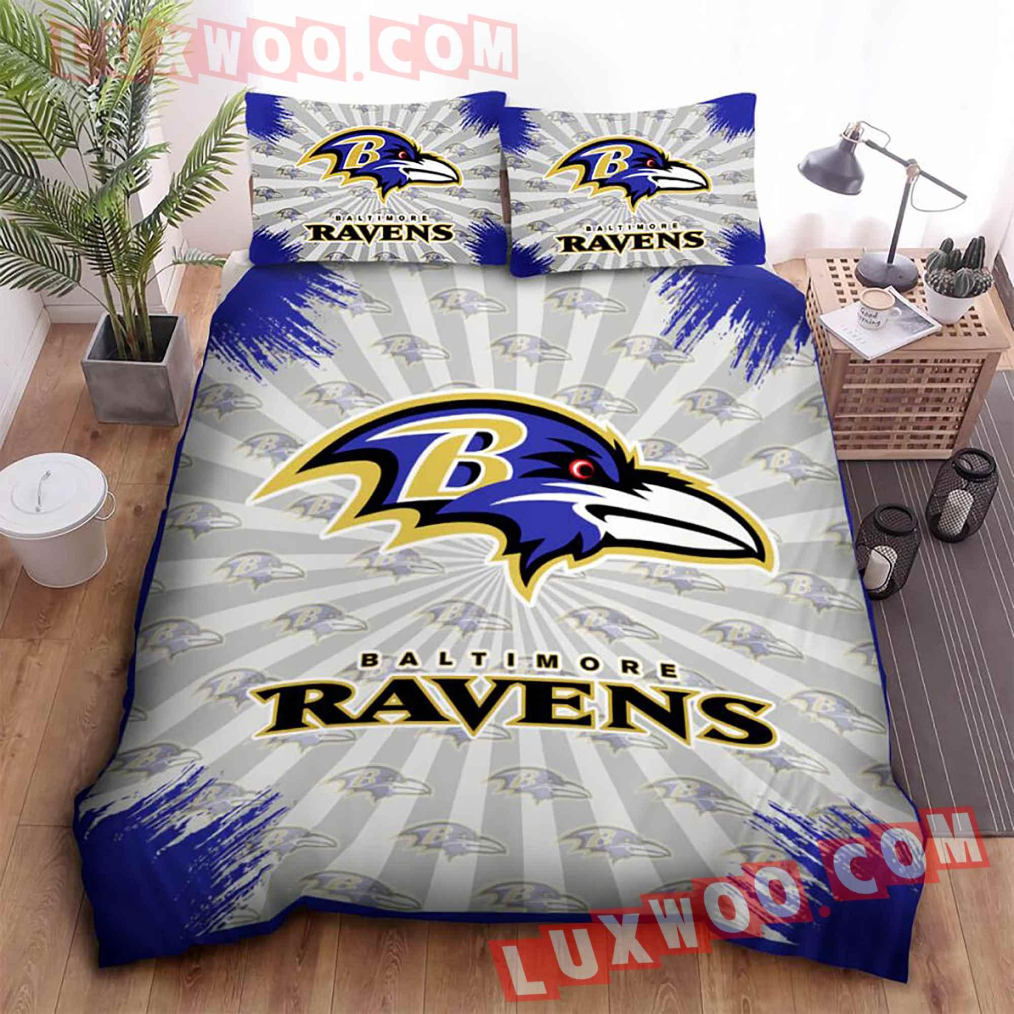 Baltimore Ravens Nfl 3d Quilt Bedding Set V2