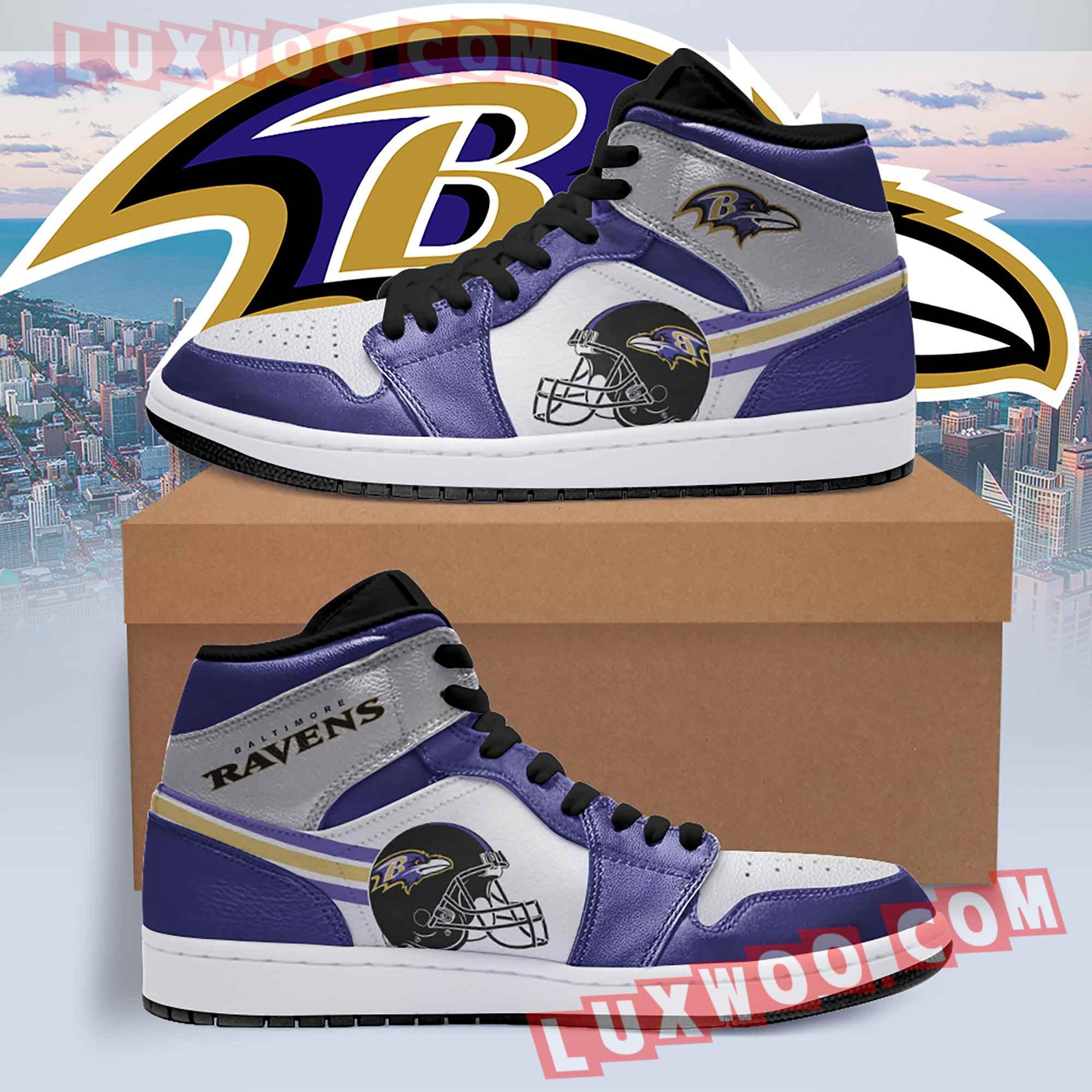 Baltimore Ravens Nfl Air Jordan 1 Custom Shoes Sneaker V4