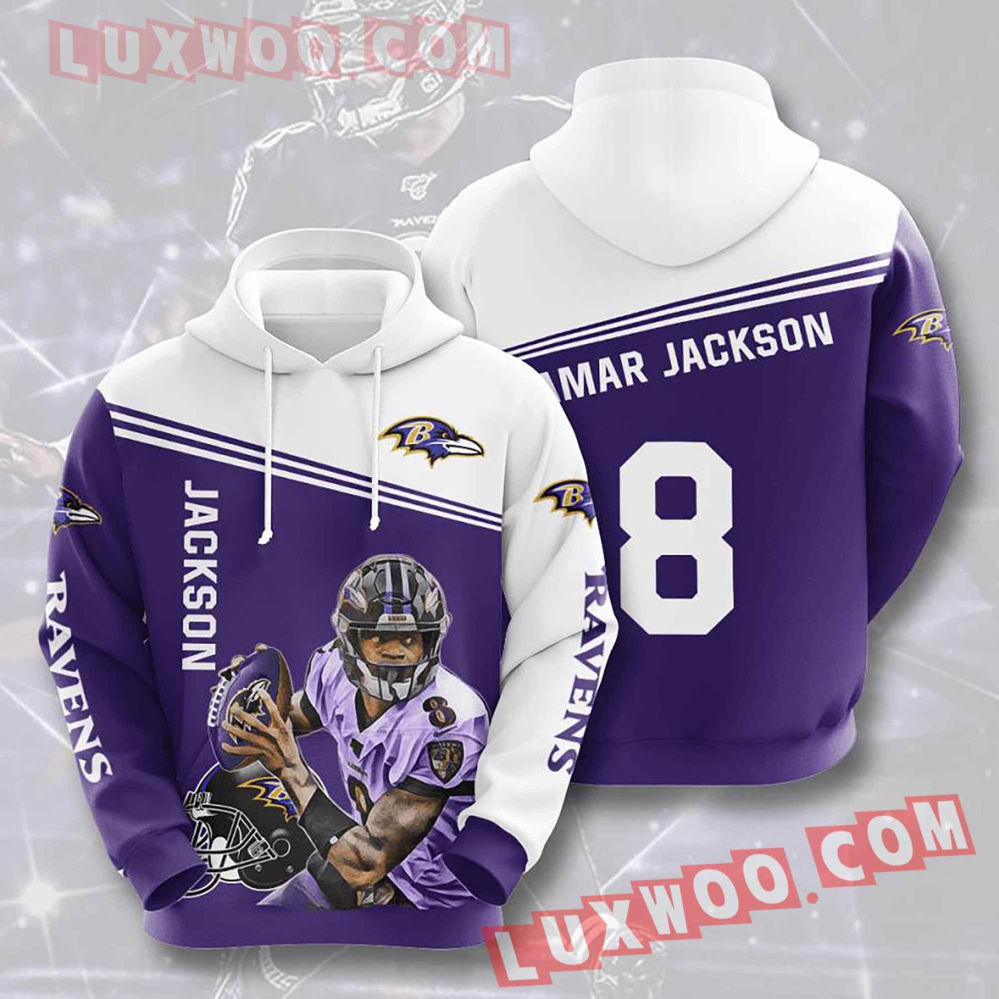 Baltimore Ravens Nfl Custom All Over Print 3d Pullover Hoodie V11