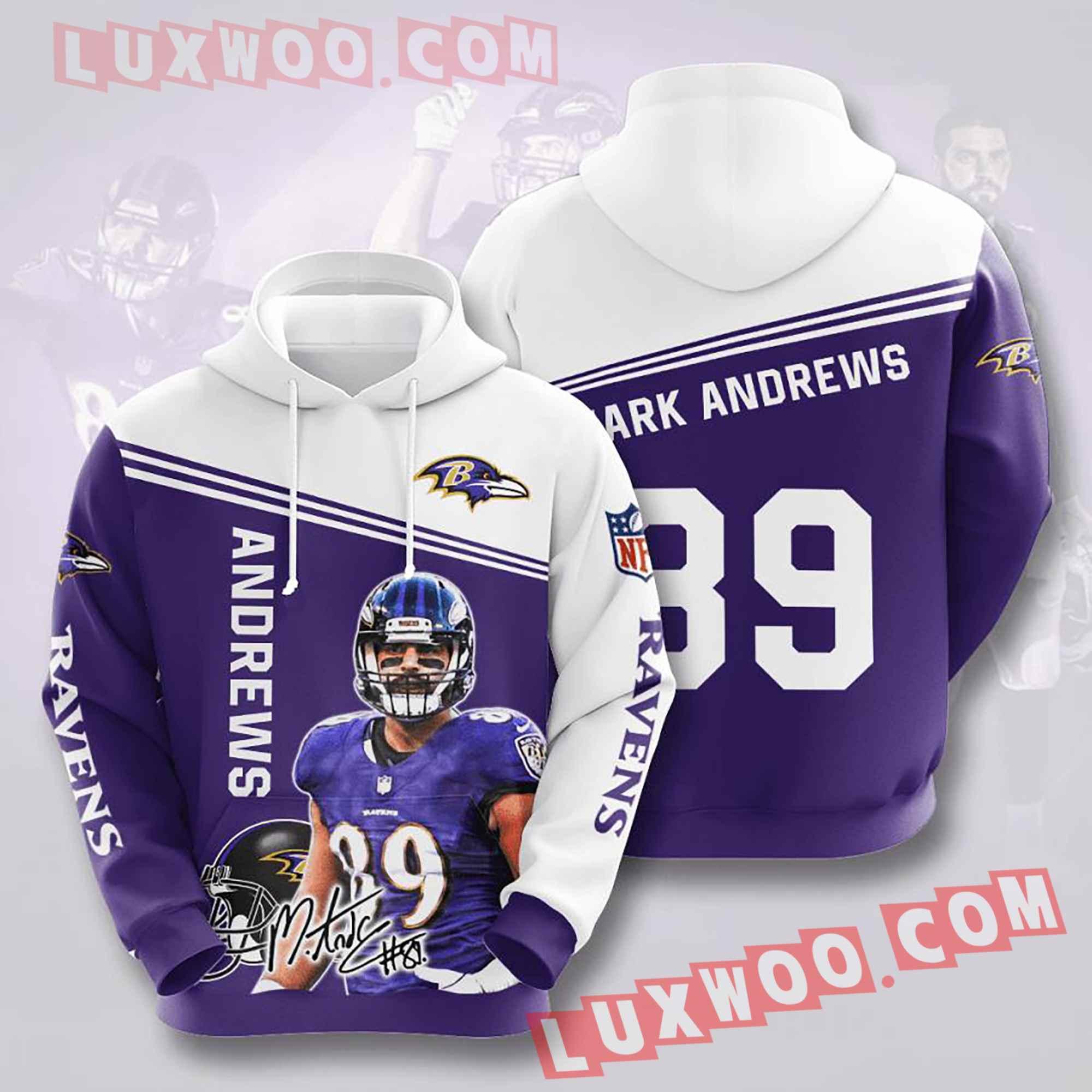 Baltimore Ravens Nfl Custom All Over Print 3d Pullover Hoodie V15