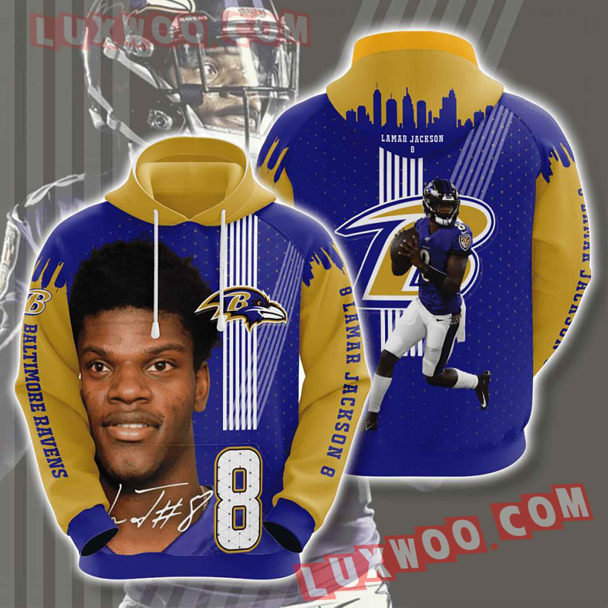 Baltimore Ravens Nfl Custom All Over Print 3d Pullover Hoodie V17