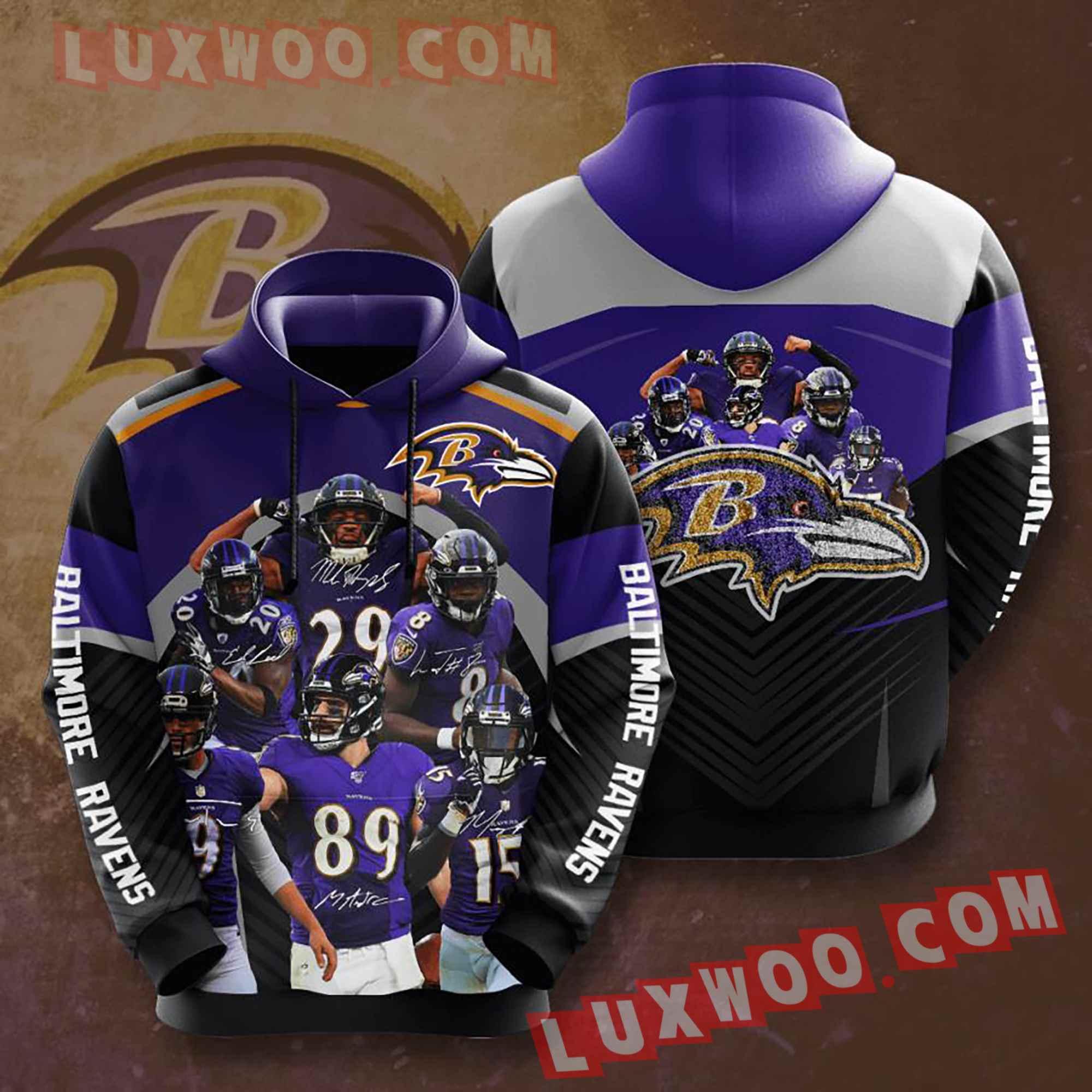 Baltimore Ravens Nfl Custom All Over Print 3d Pullover Hoodie V2